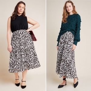Anthropologie Maeve Hildi Pleated Midi Skirt XL